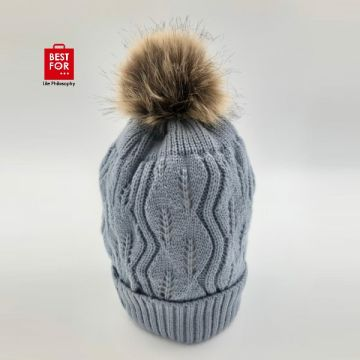 Winter Hat with Fur Ball