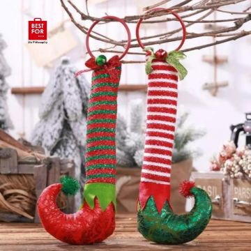 Christmas Hanging Elf Feet with Bell