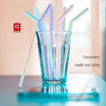 Reusable Silicone Drinking Straw 8 Pcs/Set