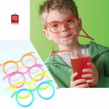 Glasses Shape Drinking Straw Set of 2