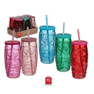 Tiki Style Drinking Glass