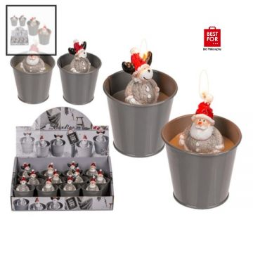 Christmas Candle in Grey Metal Pot