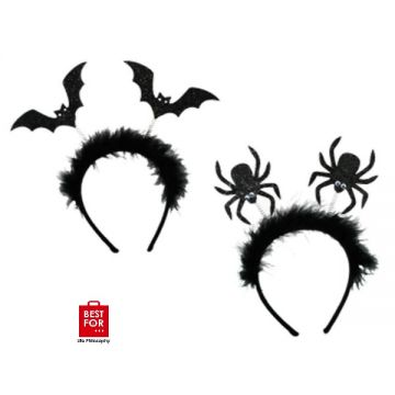 Halloween Black Head Band with Bat and Spider