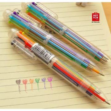 6 Colors Transparent Ballpoint Pen
